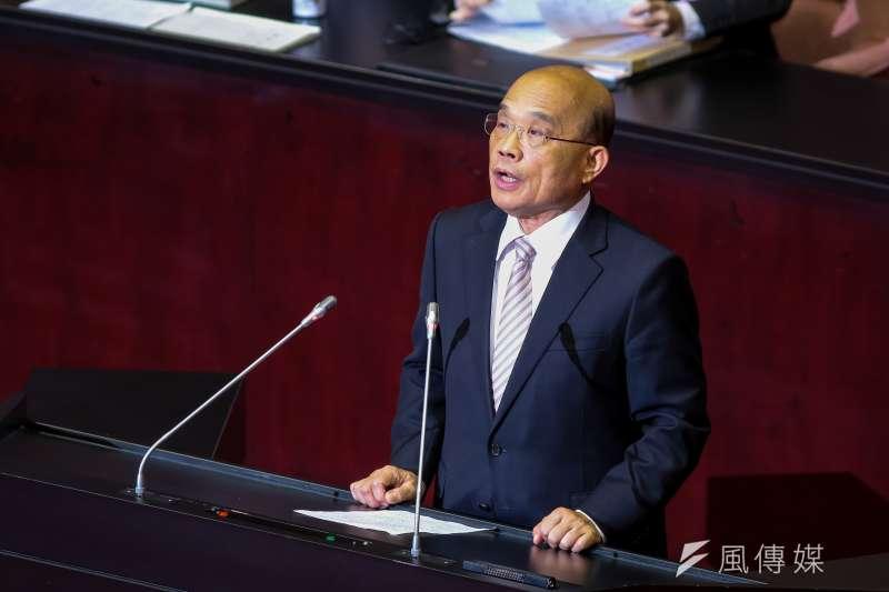 20190315-行政院長蘇貞昌15日於立院總質詢結束後致詞感謝。(顏麟宇攝)
