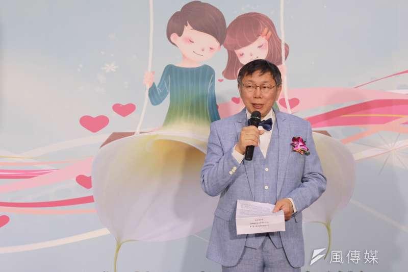 台北市長柯文哲15日上午出席春季結婚購物節活動。談及2020年總統大選。(方炳超攝)