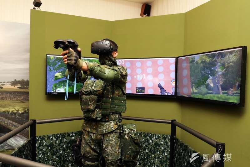 20190315-陸軍步兵特展今天登場,展場設有VR模擬射擊體驗等互動內容。(蘇仲泓攝)