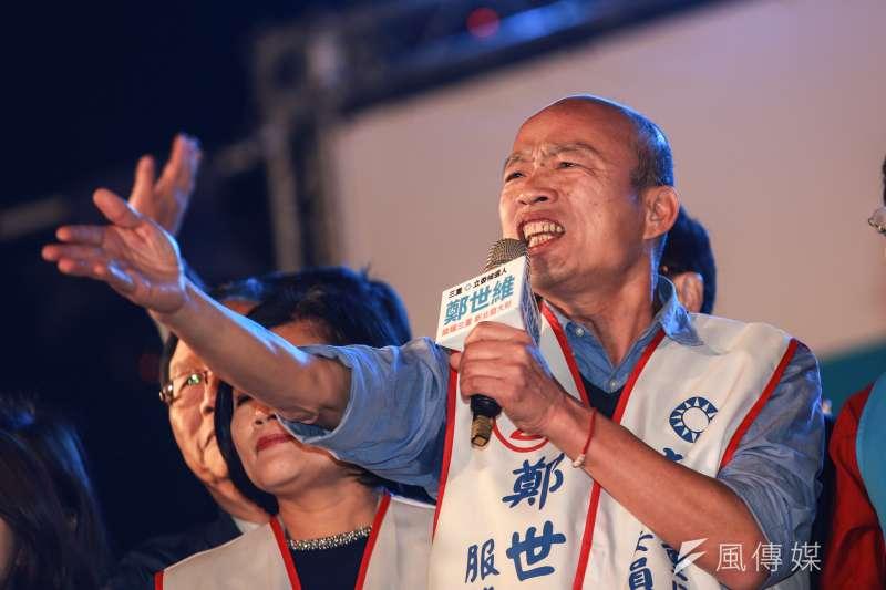 高雄市長韓國瑜20日接受媒體專訪時,指出2020年大選會投給民進黨的有3種人。(資料照,簡必丞攝)