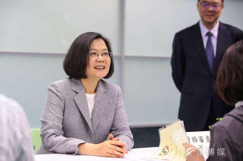 總統蔡英文21日下午也完成領表登記,爭取民進黨提名,再戰2020總統大選。(顏麟宇攝)