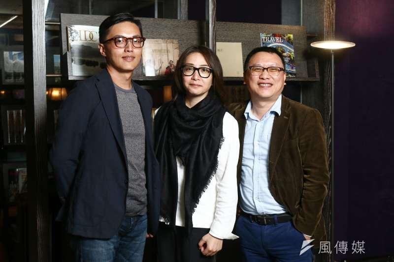 公視旗艦劇《我們與惡的距離》左起導演林君陽,製作人林昱伶、湯昇榮。(蔡親傑攝)