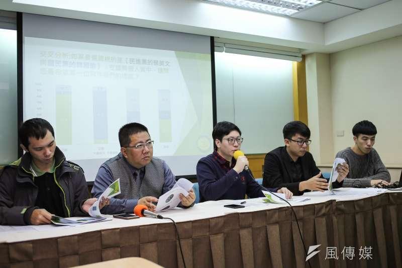 綠黨26日舉行「誰能打敗韓國瑜!?」2020總統選情探討與民調發布記者會。(陳品佑攝)