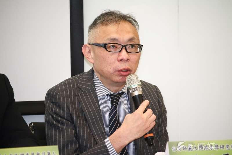 20190327-范世平(台灣師範大學政治學研究所教授)27日出席「最新兩岸關係、國族認同、制憲與2020總統仿初選評估」民意調查發布記者會。(蔡親傑攝)