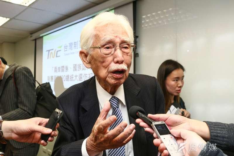 台灣制憲基金會董事長辜寬敏表示,「蔡賴配」不可能。(資料照片,蔡親傑攝)
