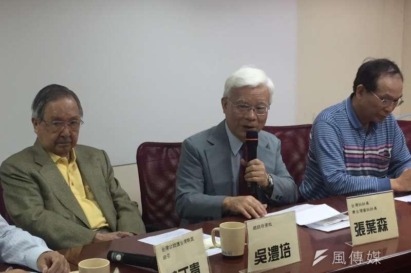 20190328-台灣社28日上午舉行「2020確保台灣會贏」記者會。左起前總統府資政吳澧培、台灣社社長張葉森。(周思宇攝)