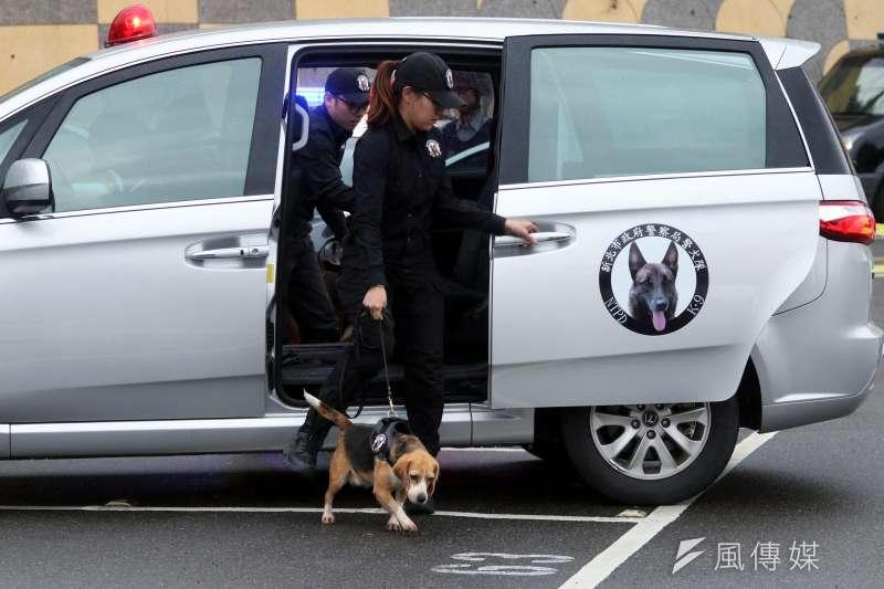 20190401-新北市警察局中和分局下午在烘爐地舉行「靖勇專案」實警演練,出動新北市警犬隊到場執行爆裂物搜索。(蘇仲泓攝)