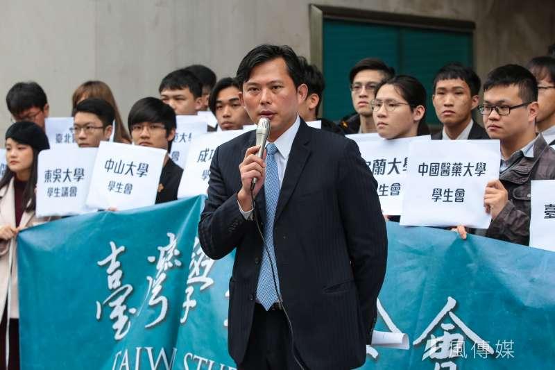 20190401-時代力量立委黃國昌1日出席「台灣學生聯合會 」成立記者會。(顏麟宇攝)