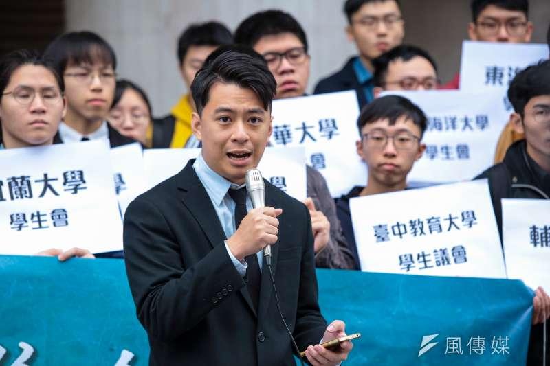 20190401-雲林科大學生會長廖柏懿1日出席「台灣學生聯合會 」成立記者會。(顏麟宇攝)
