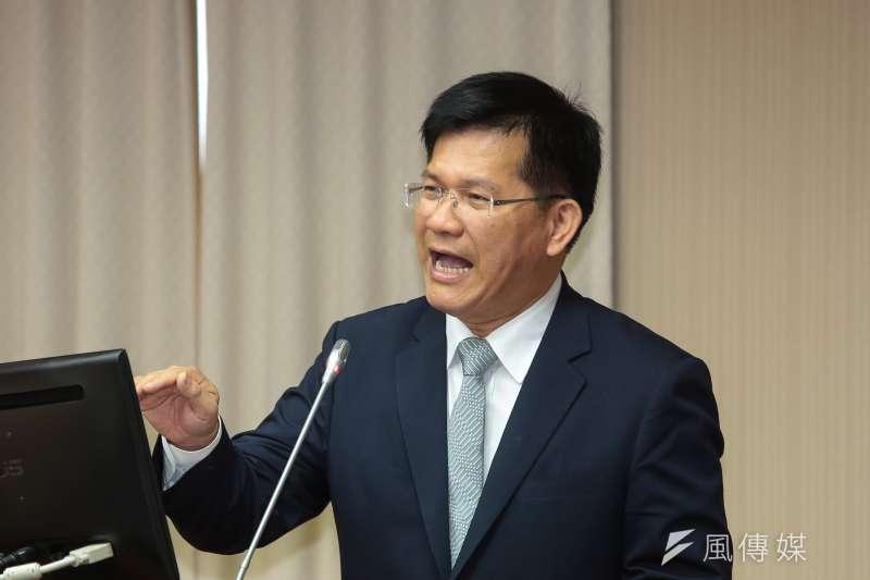 20190403-交通部長林佳龍3日於立院交通委員會備詢。(顏麟宇攝)