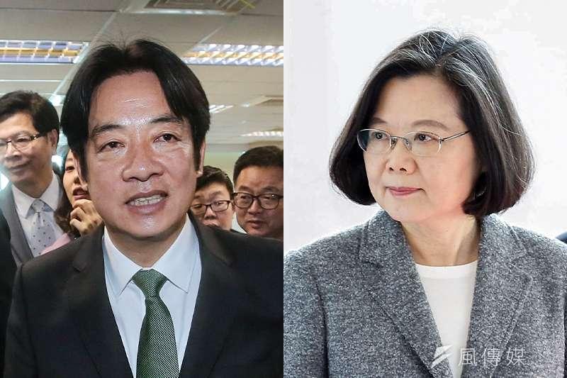 總統蔡英文(郭晉瑋攝)及前行政院長 賴清德(柯承惠攝)競爭白熱化,雙方都批評對方有網軍攻擊。