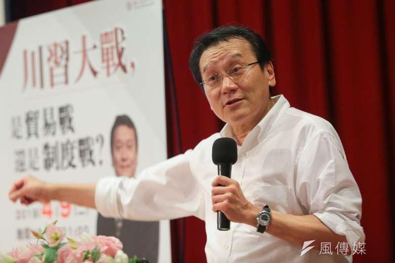 20190409-台灣駐WTO大使朱敬一9日至清華大學進行專題講座。(顏麟宇攝)
