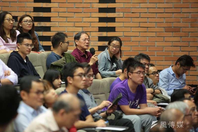 20190409-台灣駐WTO大使朱敬一9日至清華大學進行專題講座,並接受提問。(顏麟宇攝)