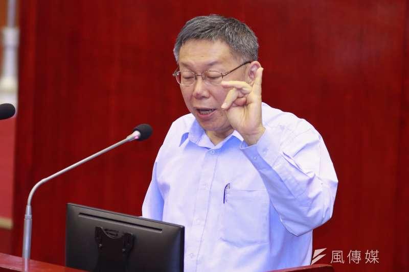 台北市長柯文哲(見圖)今天質疑雙子星開發案遭延宕,經濟部投審會指出,全案依照法定程序積極處理,並無耽擱。(資料照,簡必丞攝)