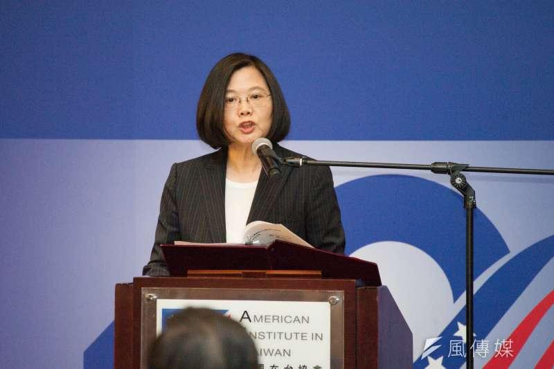 《台灣關係法》40周年慶祝酒會,總統蔡英文致詞。(甘岱民攝)