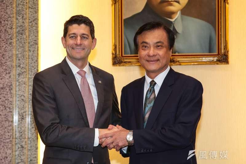 20190415-美國聯邦眾議院前議長萊恩(Paul Ryan,左)15日至立院拜會立法院長蘇嘉全。(顏麟宇攝)