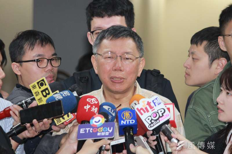 針對鴻海集團董事長郭台銘今(16)日表示考慮參選總統,台北市長柯文哲今被問到此題時,表示參選是每個國民的權利。(方炳超攝)