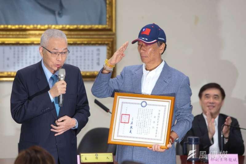 鴻海董事長宣布投入國民黨提名初選,拒絕接受徵召,為政黨初選、維護黨內民主機制立下典範(顏麟宇攝)