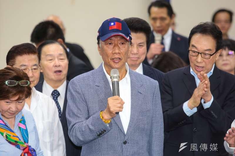 20190417-鴻海董事長郭台銘17日接受頒贈「中國國民黨中央委員會榮譽狀」。(顏麟宇攝)