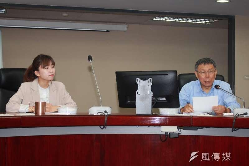 20190417-台北市長柯文哲(右)今日中午拜會台北市議會時代力量黨團,說明本會期重要法案。圖左為時代力量黨團總召林穎孟。(方炳超攝)