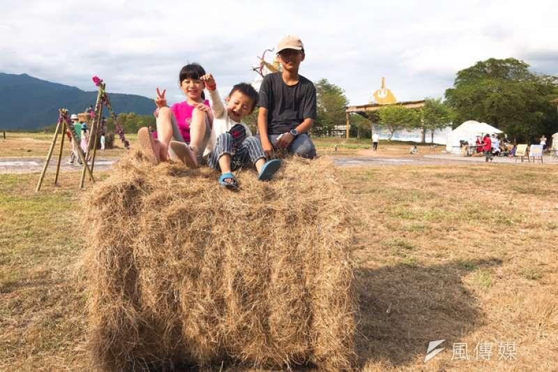 池上牧草季歡迎全家大小來玩牧草球。(圖/徐炳文攝)