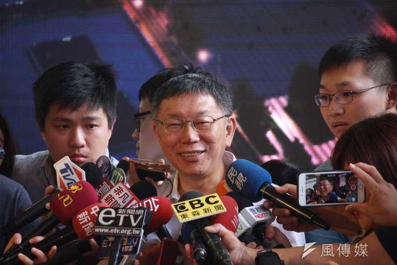 台北市長柯文哲23日上午出席內科之心BOT案上梁典禮,針對高雄市長韓國瑜參選總統與否,柯文哲表示「我看他沉不住了」。(方炳超攝)