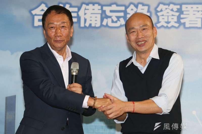 韓國瑜(右)4月23日的聲明,讓藍營期待他和郭台銘(左)組成勝選雙箭頭正式破局。(蔡明志攝)