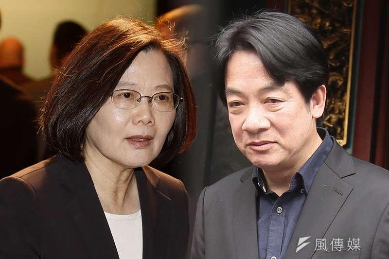 總統蔡英文(郭晉瑋攝)及前行政院長賴清德(柯承惠攝)爭取民進黨黨內初選出線,競爭愈演愈烈。