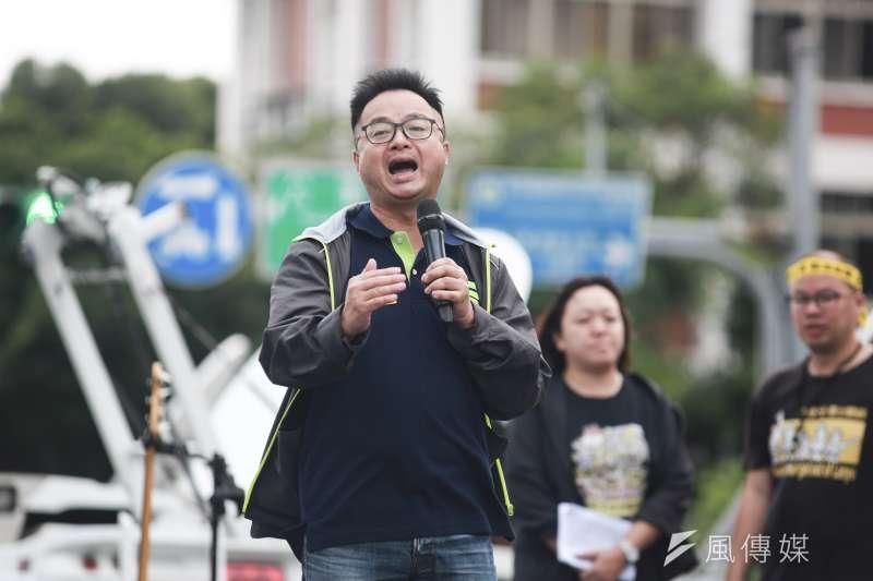 廢核平台27日舉行反核大遊行,民進黨秘書長羅文嘉出席活動,強調遊行不是為了抗議,是為了凝聚大家的力量。(簡必丞攝)