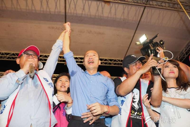 高雄市長韓國瑜27日晚間出現在韓粉誓師大會。(新新聞林瑞慶攝)