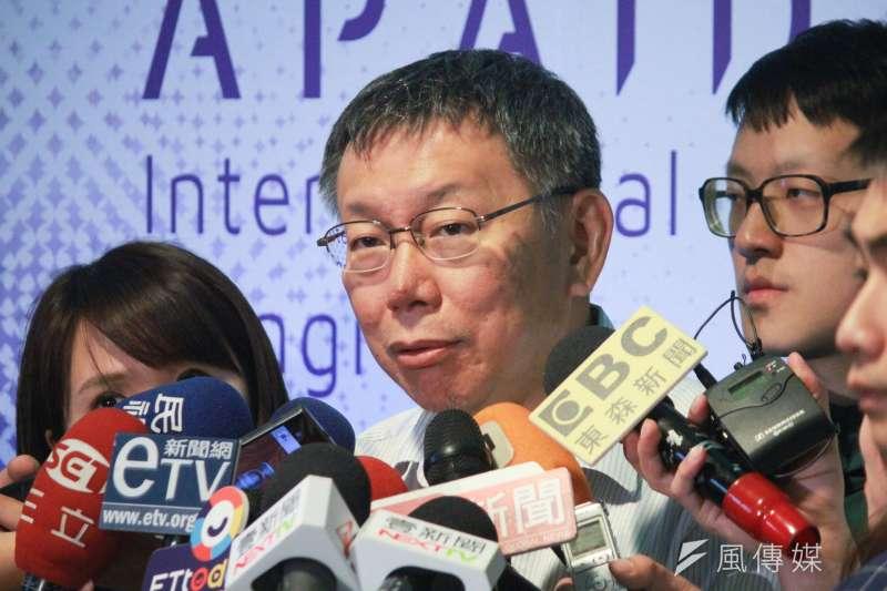 針對高雄市長韓國瑜4千萬競選經費一事,台北市長柯文哲27日表示,自己選過2次,費用算一算多少就知道。(方炳超攝)