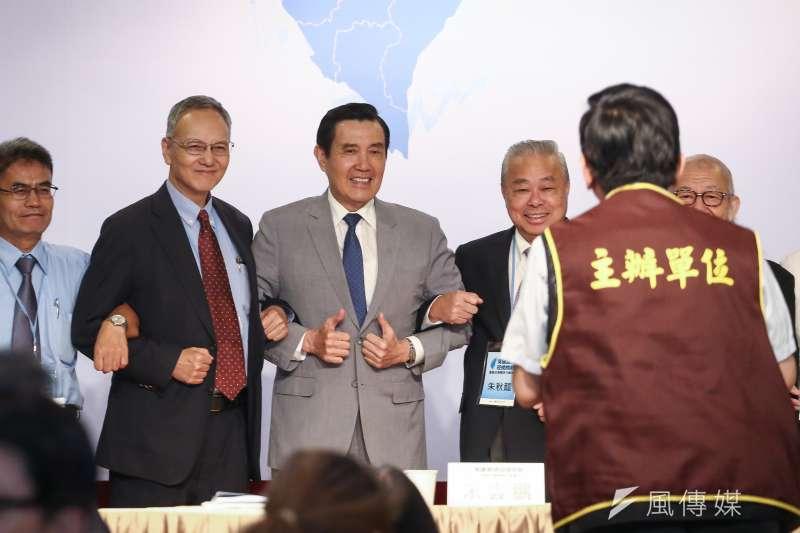 前總統馬英九出席馬英九基金會舉辦「突破困境,迎接挑戰」會議時炮火四射。(陳品佑攝)