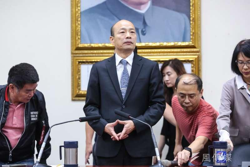 國民黨「吳韓會」30日下午3時登場,高雄市長韓國瑜會後召開記者會,發表4項聲明。(顏麟宇攝)