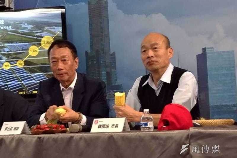 高雄市長韓國瑜與鴻海集團董事長郭台銘,都是國民黨初選無章法的「受惠者」。(圖/徐炳文攝)