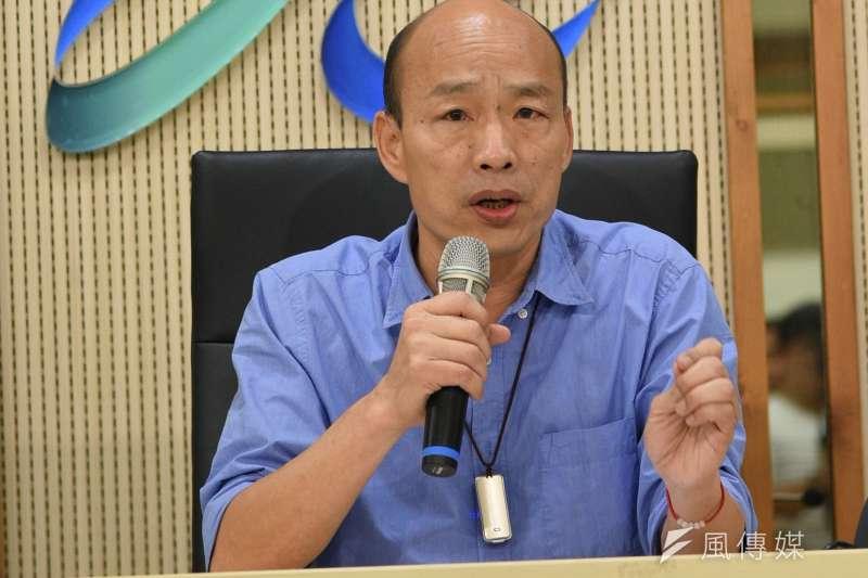 高雄市長韓國瑜說,對市府公文疑似被前朝機要帶走,希望檢方嚴正調查。(資料照,徐炳文攝)
