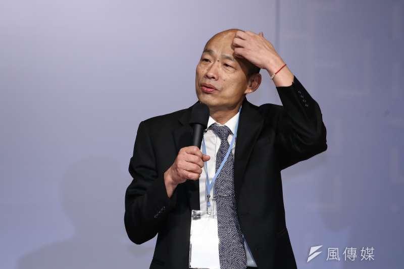 高雄市長韓國瑜議會備詢答不出自經區,被網友噓爆。(陳品佑攝)