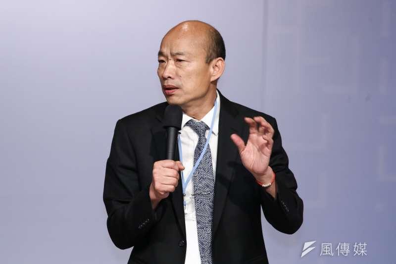 高雄市長韓國瑜(見圖)5日開直播再談自經區,過程中並兩度向行政院喊話,盼給高雄一個機會。(資料照,陳品佑攝)