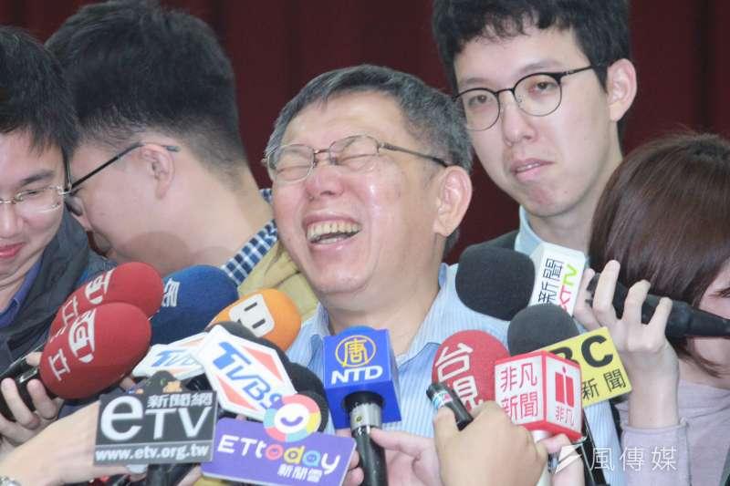 台北市長柯文哲(見圖)對2020「柯蔡配」說法,表示不以為然。(資料照,方炳超攝)