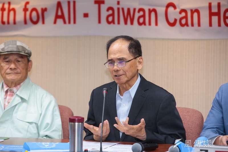 前行政院長游錫堃1日出席台灣聯合國協進會WHO宣達團國際記者會。(顏麟宇攝)