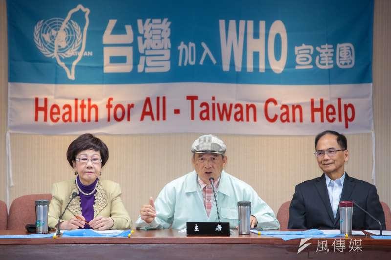 20190501-前國防部長蔡明憲(中)1日舉行台灣聯合國協進會WHO宣達團國際記者會。(顏麟宇攝)