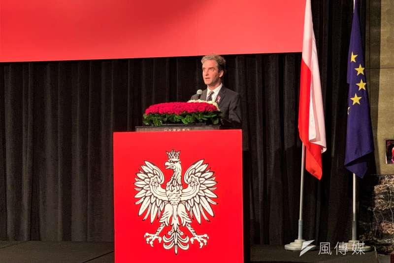 波蘭國慶:波蘭臺北辦事處處長梅西亞致詞(簡恒宇攝)