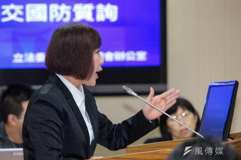 20190502-國民黨立委呂玉玲2日於外交國防委員會質詢。(顏麟宇攝)