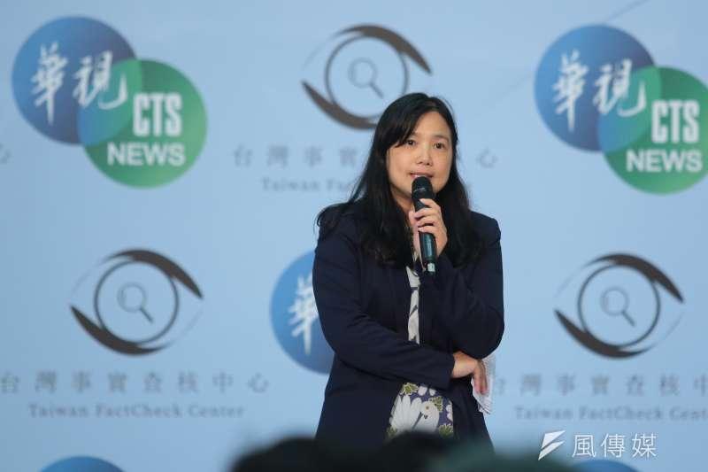 20190506-國家通訊傳播委員會NCC委員洪貞玲6日出席「台灣事實查核中心與華視新聞合作記者會」記者會。(顏麟宇攝)