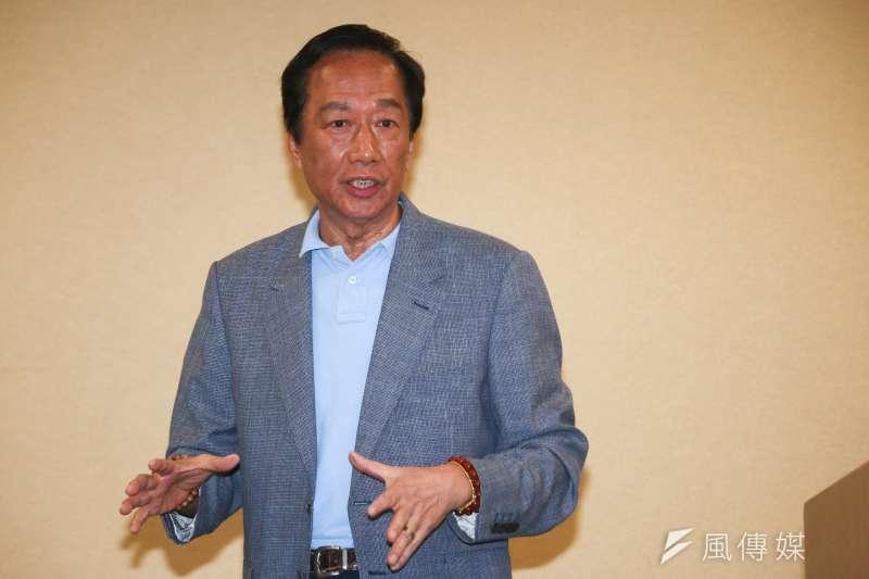 鴻海集團董事長郭台銘在臉書發文挺詹宏志。(資料照片,蔡親傑攝)