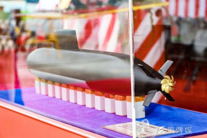 海軍和台船公司今舉行「潛艦國造廠區動土典禮」,現場首度公布未來潛艦原型艦模型。(海軍司令部提供)