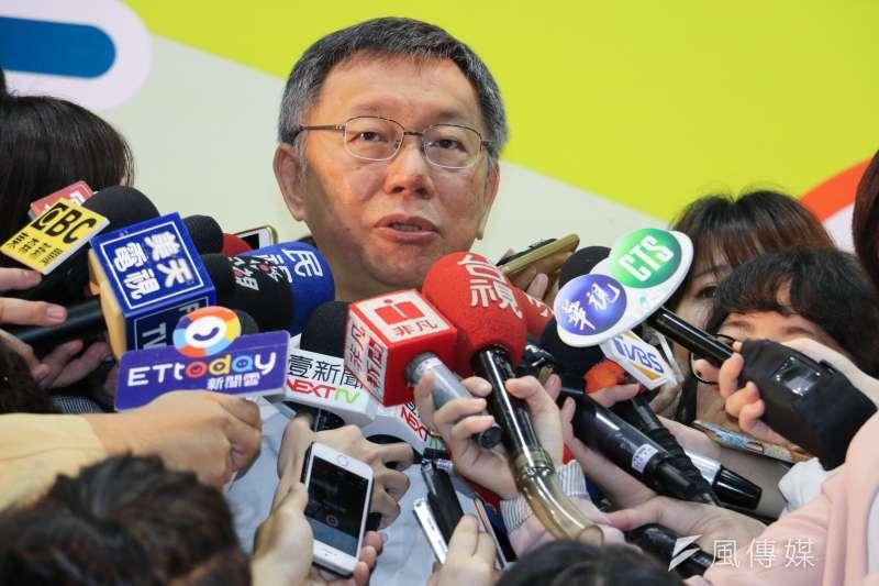 台北市長柯文哲10日上午出席教育局主辦活動,會後受訪。(方炳超攝)