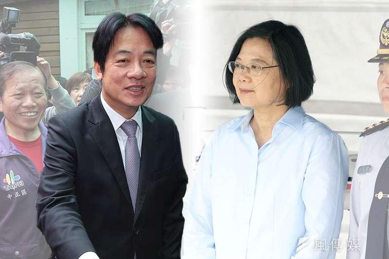 針對2020年總統大選,根據TVBS民調中心最新民調,總統蔡英文在對比式民調首次勝過前行政院長賴清德。(資料照,顏麟宇、蘇仲泓攝/影像合成:風傳媒)