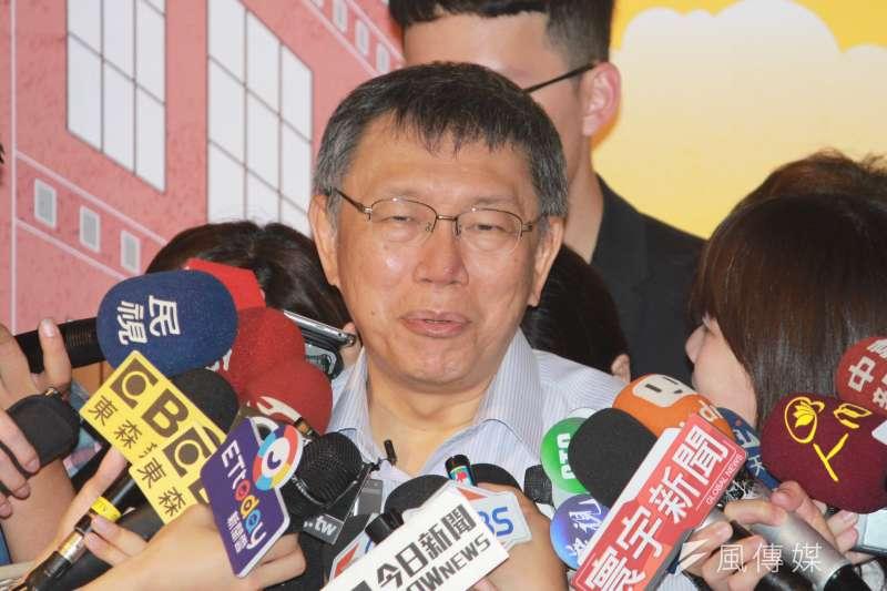 台北市長柯文哲14日下午前往迪化街,出席再造店家宣傳暨徵選記者會。(方炳超攝)