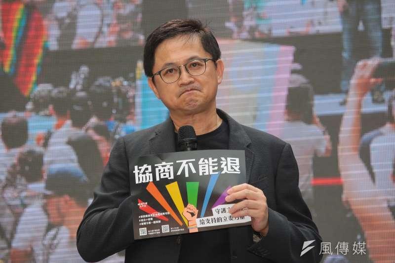 20190514-和碩董事長童子賢14日出席「婚權緊急動員令,5/14協商不能退」集會活動。(顏麟宇攝)