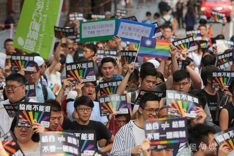 20190514-婚姻平權大平台14日舉行「婚權緊急動員令,5/14協商不能退」集會活動。(顏麟宇攝)